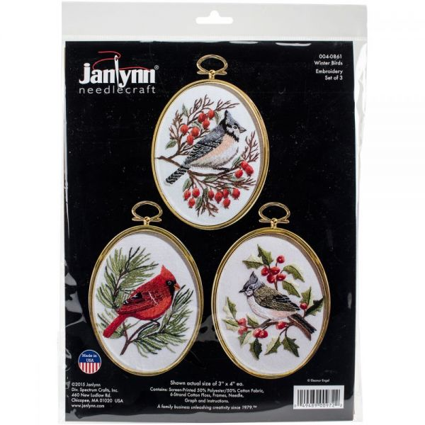 Winter Birds Embroidery Kit Set Of 3