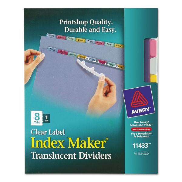Avery Index Maker Print & Apply Clear Label Plastic Dividers, 8-Tab, Multi-color Tab, Letter, 1 Set