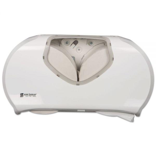 San Jamar Twin Jumbo Bath Tissue Dispenser, 19 1/4 x 6 x 12 1/4, White/Clear