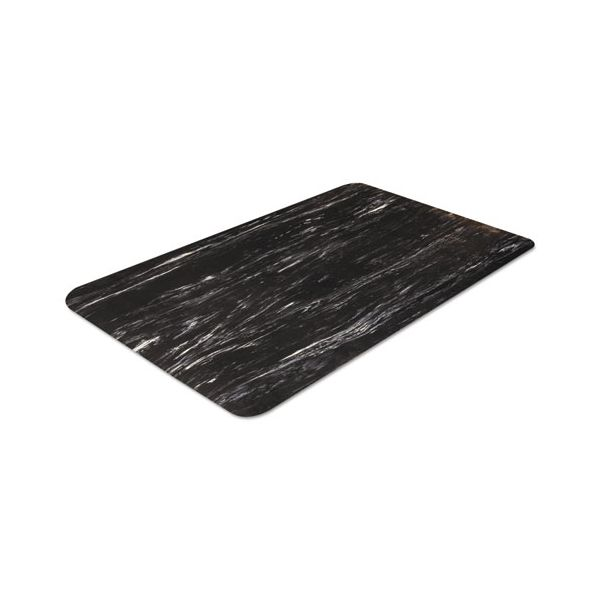 Crown Cushion-Step Surface Mat, 24 x 36, Marbleized Rubber, Black
