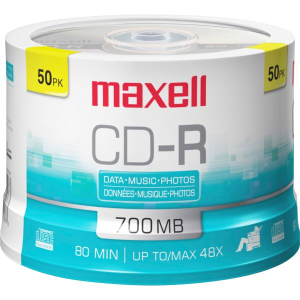 Maxell CD-R Discs, 700MB/80min, 48x, Spindle, Silver, 50/Pack