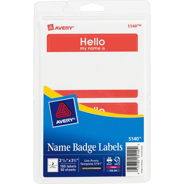 """Avery """"Hello my name is"""" Adhesive Name Tags"""