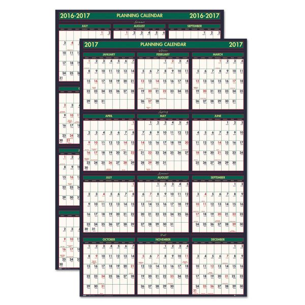 House of Doolittle Four Seasons Laminated Reversible Yearly Wall Calendar