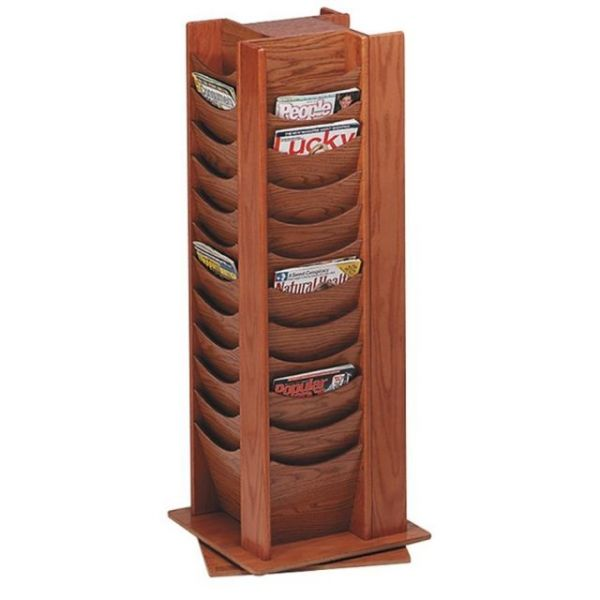 Buddy 48-Pocket Wood Rotating Literature Racks