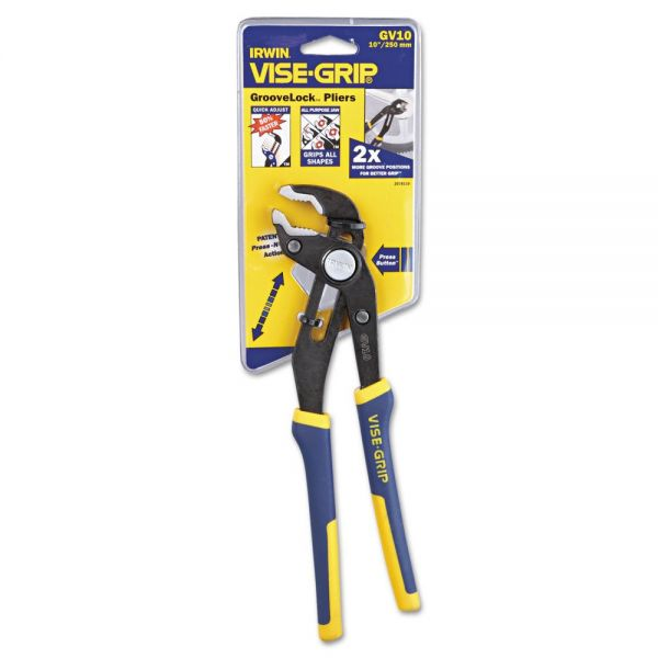 "IRWIN Groovelock V-Jaw Pliers, 10"" Tool Length, 2 1/4"" Jaw Capacity, Gray/Blue/Yellow"