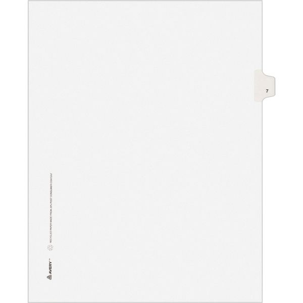 Avery Allstate-Style Legal Exhibit Side Tab Divider, Title: 7, Letter, White, 25/Pack