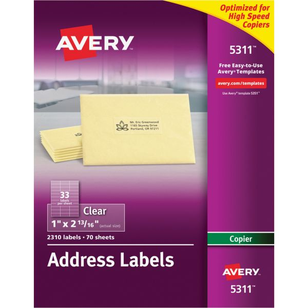 Avery 5311 Copier Clear Address Labels