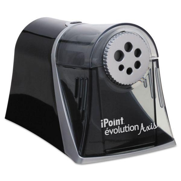 Westcott iPoint Evolution Axis Pencil Sharpener, Black/Silver, 5w x 7 1/2 d x 7 1/4h