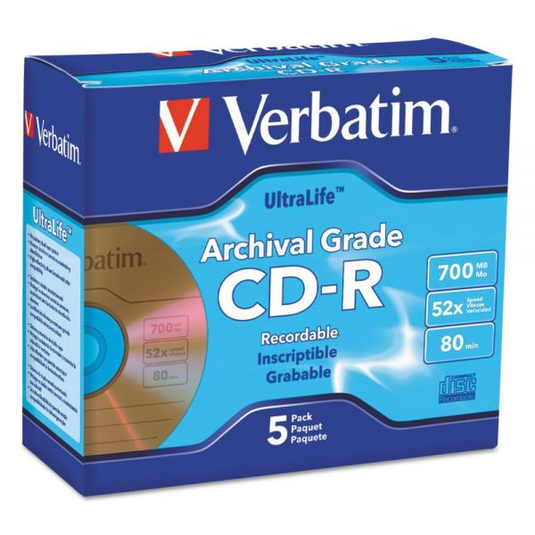 Verbatim Recordable CD Media With Jewel Cases