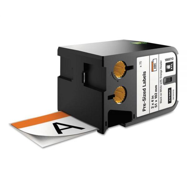 """DYMO XTL Pre-Sized Labels, 2"""" x 4"""", White/Orange Header/Black Print, 70/Cartridge"""