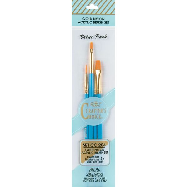 Crafter's Choice Gold Nylon Acrylic Brush Set