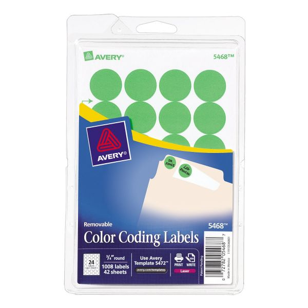 Avery Print Or Write Round Removable Color Coding Labels