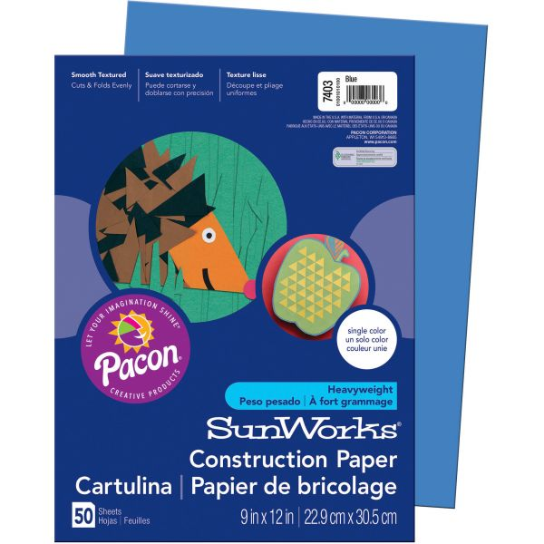 SunWorks Construction Paper, 58 lbs., 9 x 12, Blue, 50 Sheets/Pack