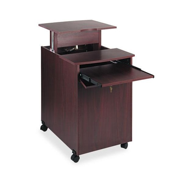 Safco Deluxe Mobile Computer/Projector Stand, 21-1/2 x 30-7/8 x 30-1/4, Mahogany