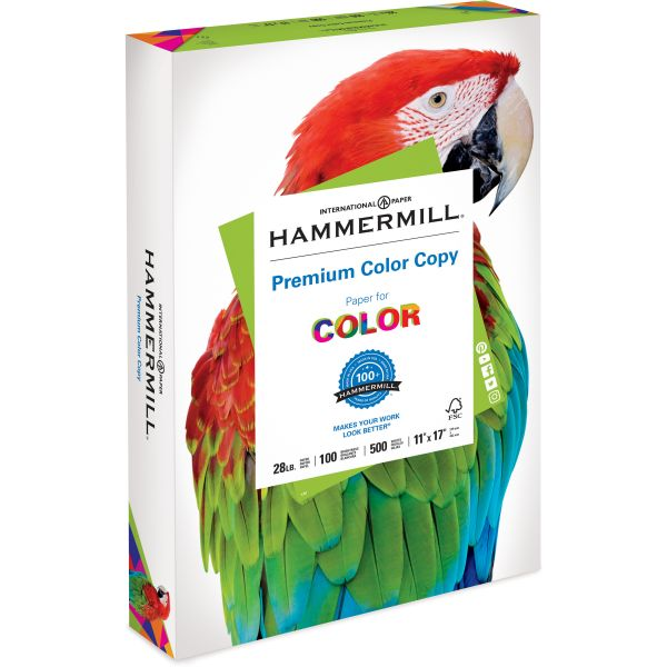 Hammermill Copy Paper, 100 Brightness, 28 lb, 11 x 17, Photo White, 500 Sheets/Ream