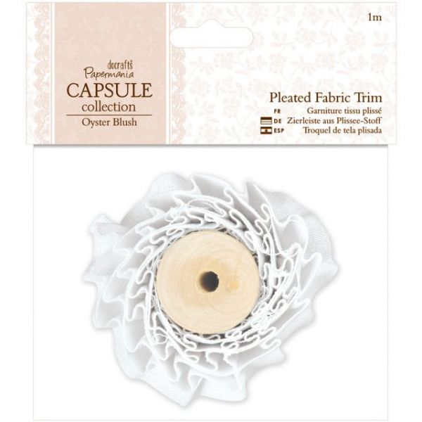 Papermania Oyster Blush Pleated Fabric Trim 1m