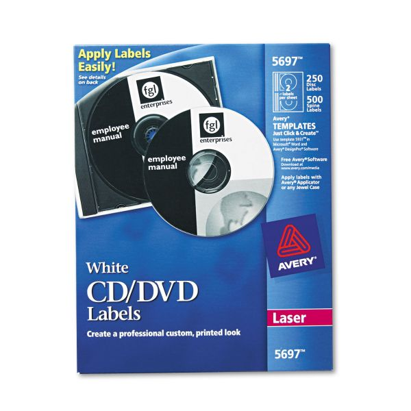 Avery Laser CD Labels, Matte White, 250/Pack