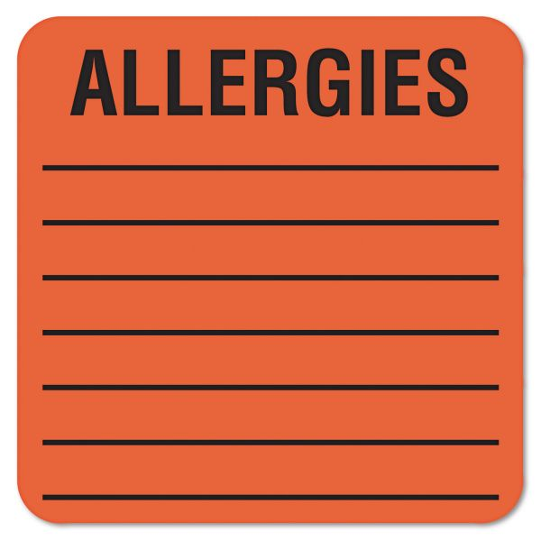 Tabbies Medical Labels for Allergies, 2 x 2, Orange, 500/Roll