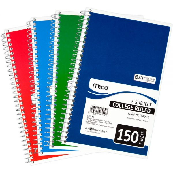 Mead Spiral 3-Subject Notebook
