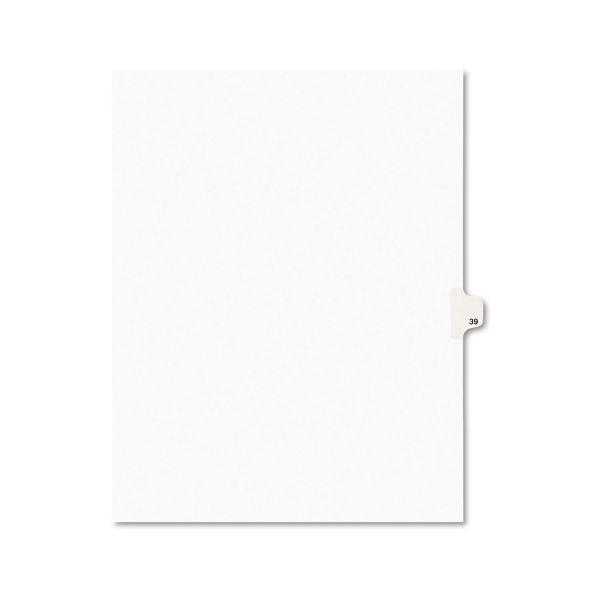 Avery Avery-Style Legal Exhibit Side Tab Divider, Title: 39, Letter, White, 25/Pack