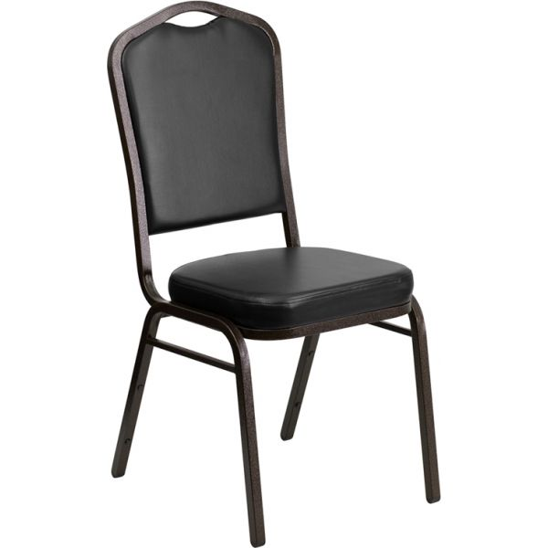 Flash Furniture HERCULES Series Crown Back Stacking Banquet Chair with Black Vinyl and 2.5'' Thick Seat - Gold Vein Frame