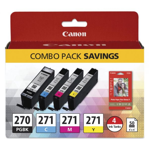 Canon PGI-270 & CLI-271 Ink Cartridges & Paper Combo Pack (0373C005)