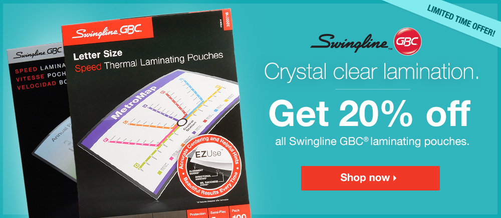 20% OFF - Swingline Lamination Pouches - Shop Now