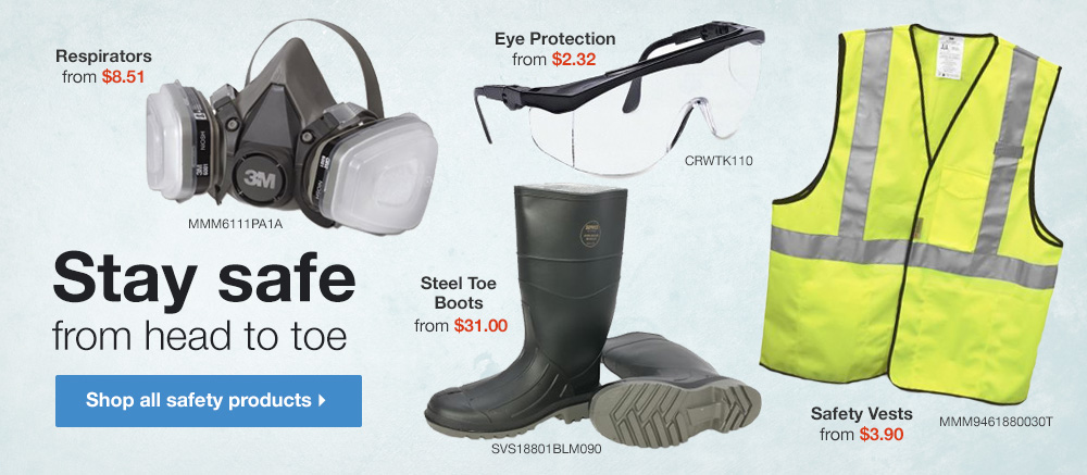 Stay safe from head to toe - Shop all safety equipment
