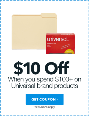 $10 off when you spend $100+ on Universal brand products