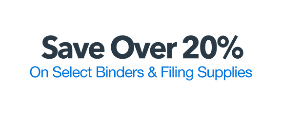 Save over 20% on select binders and filing supplies